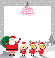 Santa with dog and reindeer border vector