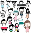 Cute girl funny action girls vector