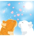 Two beloved cats on sky background vector