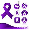 Purple awareness ribbons kit vector