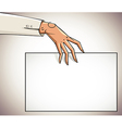 Hand holding blank paper vector