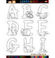 Cartoon alphabet with animals for coloring vector