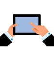 Hand on digital tablet vector