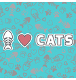 I love cats card cute background with cat paw vector
