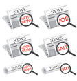 Newspaper with magnifying glass search symbol vector