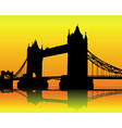 Silhouette tower bridge vector