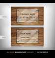 Old wooden texture business card background vector