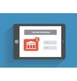 Tablet pc with online banking icon on the screen vector