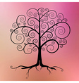 Abstract black tree on violet - pink - orang vector