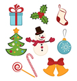 Collection of color christmas icons or objects vector