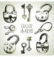 Hand drawn sketch locks and keys set vector