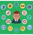 Businessman surrounded finance activities icons vector
