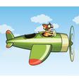 Cat flying plane vector