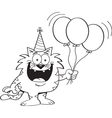 Cartoon cat holding balloons vector