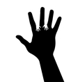 Adult hand silhouette with baby hand silhouette vector