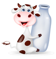 Cute cow cartoon with milk bottle vector