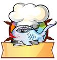 Restaurant fish menu on rudder vector