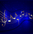 Abstract blue musical background with golden notes vector