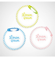 Hang labels with safety pin on bottom lines vector