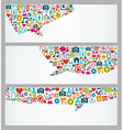 Social media icons talk bubble banners set vector