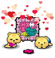 Two bears piecing heart puzzle vector