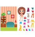 Paper doll with a set of clothes and a room vector