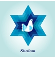 Template card with jewish symbols and peace dove vector