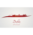 Dublin skyline in red vector