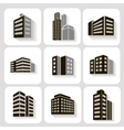 Set of dimensional buildings icons in grey and vector
