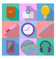 Set of 9 business and office equipment icons vector