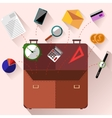 Briefcase with office accessories concept vector