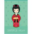 Sweet asian girl enjoy sushi vector