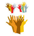 Diverse hands silhouette vector