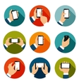 Hands with phones icons set vector