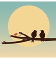 Birds sitting on a branch vector