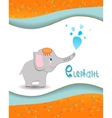 Animal alphabet elephant with a colored background vector