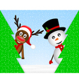 Snowman and reindeer peeking from behind trees vector
