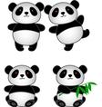 Panda cartoon group vector
