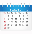 Stylish calendar page for september 2013 vector