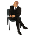 Young man on business suit sitting in office chair vector