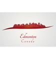 Edmonton skyline in red vector