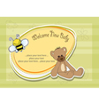 Baby shower card with teddy bear toy vector