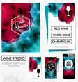 Identity design for your wine studio business set vector