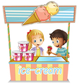 Two young kids at the ice cream stand vector