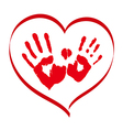 Man and woman red handprints in a heart on white vector