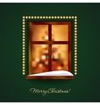 Decorated window with some snow on a green wall vector