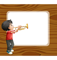 A boy playing with his trombone in front of an vector