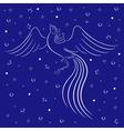 Graceful firebird contour over blue vector