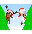 Reindeer and sheep in the christmas forest vector