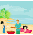 Happy family with barbecue outdoors vector